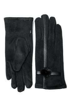 Black Faux Suede Cross Glove with pom pom detail