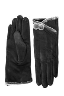 Black Faux Suede Fur Edge Glove with pom pom detail