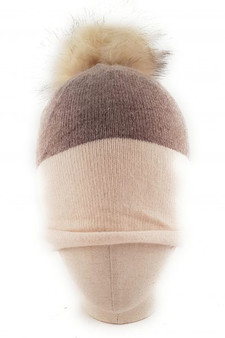 Cream & Mocha Cashmere Pom Pom Hat