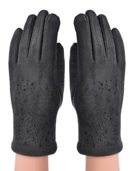 Grey Diamante Back Gloves
