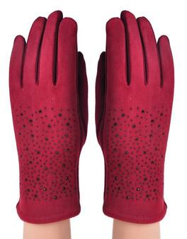 Burgundy Diamante Back Gloves