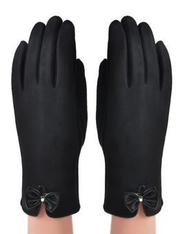 Black Faux Suede Bow Detail Gloves