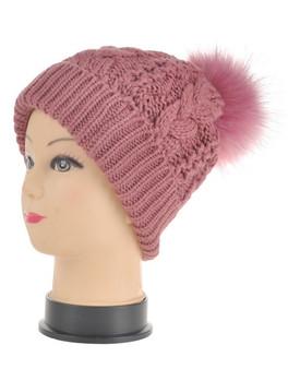 Pink Chunky Cable Knit Pom Pom Hat