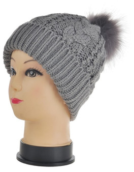 Grey Chunky Cable Knit Pom Pom Hat