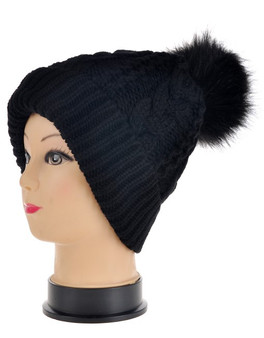 Black Chunky Cable Knit Pom Pom Hat