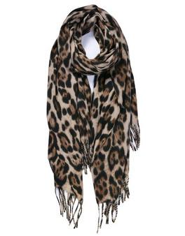 Khaki Leopard Tassle Scarf with Cashmere