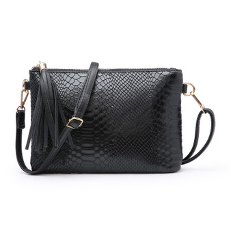 Black Mock Croc Clutch Bag