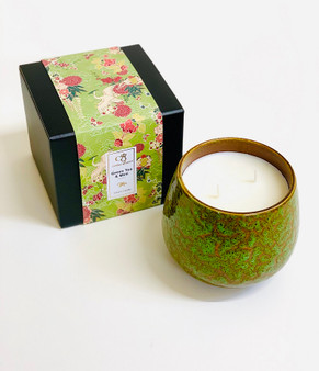 Green Tea & Mint  Luxury 2 Wick Rustic Ceramic Candle