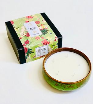 Green Tea & Mint  Luxury 5 Wick Rustic Ceramic Candle
