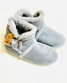 Grey Fur Lined Bow Bootie Slipper