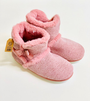 Pink Fur Lined Bow Bootie Slipper