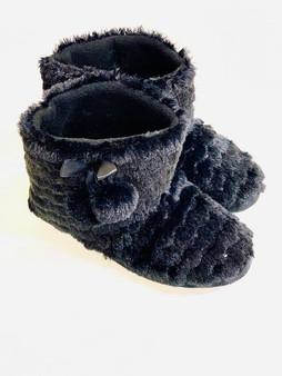 Black Faux Fur Pom Pom Bootie Slipper