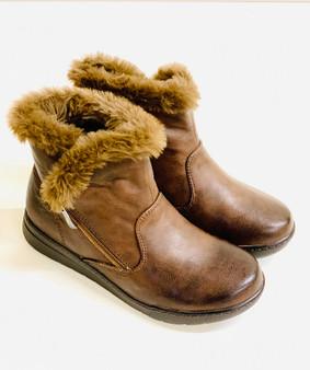 Ladies Brown Fur Trim Wedge Ankle Boot