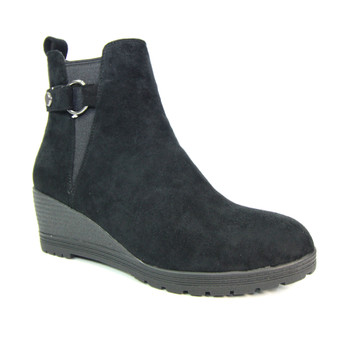 Ladies Black Wedge Ankle Boot - Josephine