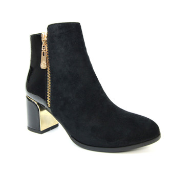 Ladies Black Two Tone Heeled Ankle Boot - Goldie