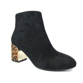 Ladies Black Leopard Heel Ankle Boot - Bessie