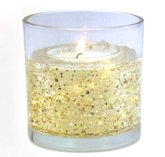 LED Gel Candle with Light Up Gold Stars - Amber Noir