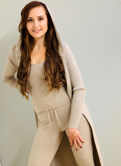 3 Pc Beige Knitted Rib Hooded Loungewear Set