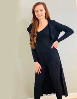 3 Pc Black Knitted Rib Hooded Loungewear Set