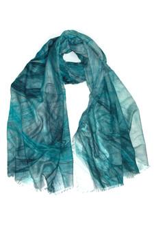 Blue Swirl Print Scarf