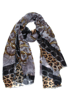 Black Chain and Leopard Print Scarf