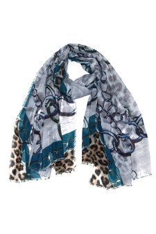 Teal Blue Chain and Leopard Print Scarf