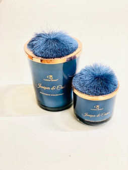 Juniper & Cedar  Pom Pom Candle in Blue