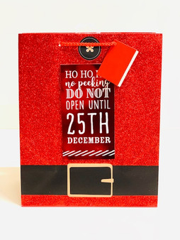 Red Glitter Santa Belt Christmas Gift Bag