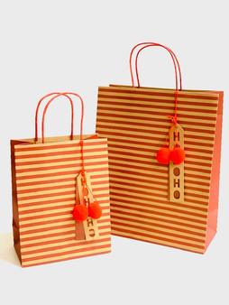 Stripe, Pom Pom, Ho Ho Ho Kraft Gift Bag