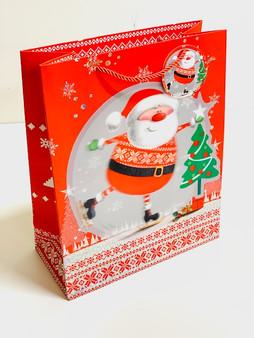 Large 3D Effect Skating Santa Christmas Gift Bag
