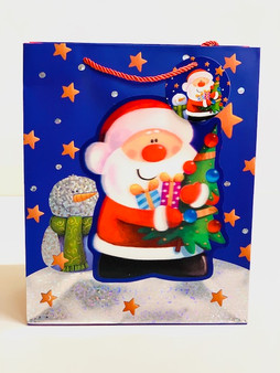 3D Effect Santa Christmas Gift Bag