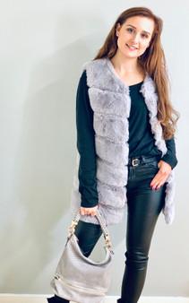 Ladies Longline Faux Fur Gillet