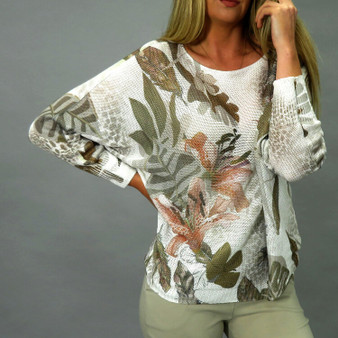 Ladies Floral / Animal Print Lightweight Batwing Jumper in Beige