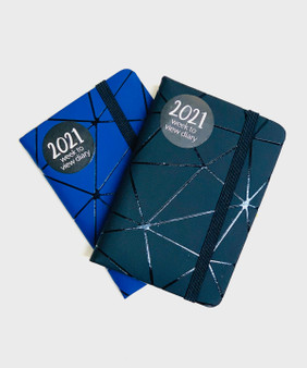 Mosaic Mini Week to View 2021 Diary in Black or Blue