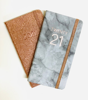 Marble & Rose Gold Glitter Week to View Slim 2021 Diary