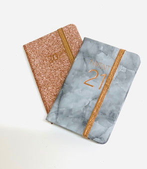 Marble & Rose Gold Glitter Week to View Mini 2021 Diary