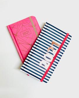 Pink Geo or Navy Stripe Week to View Slim 2021 Diary