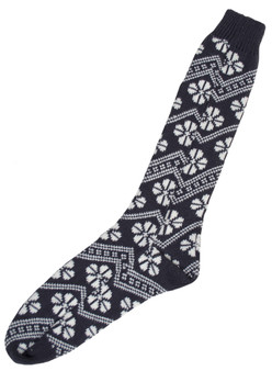 Nordic Pattern Knitted Socks in Navy