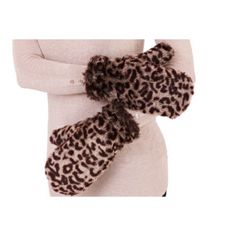 Leopard Design Faux Fur Mitten Gloves