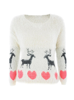 Stag & Heart Eyelash Jumper in Blush
