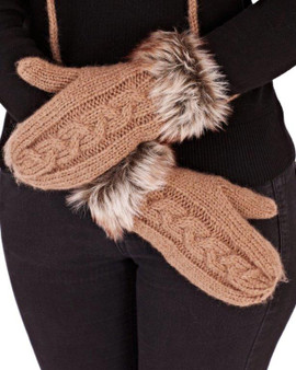 Chunky knit mittens with Mohair trim detail shown in Toffee colour