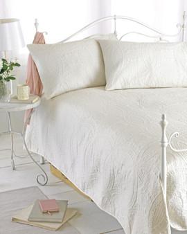 Marshmallow Paris Embossed Bedspread & Pillow Sham Set