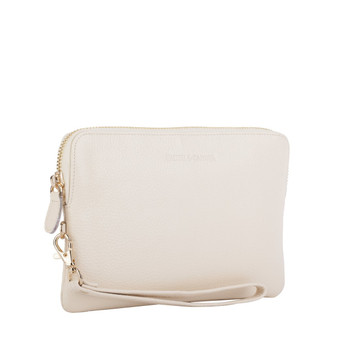 Mighty Charging Leather Power Clutch Bag Purse - Cream