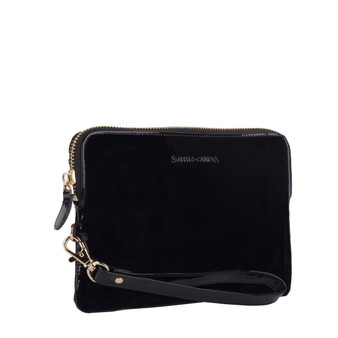 Mighty Charging Leather Power Clutch Bag Purse - Glossy Patent Black