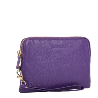 Mighty Charging Leather Power Clutch Bag Purse - Purple