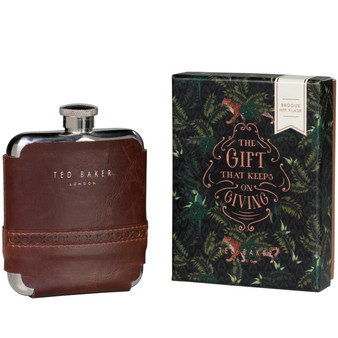 Ted Baker Walnut Brown Brogue Hip Flask (TED217)