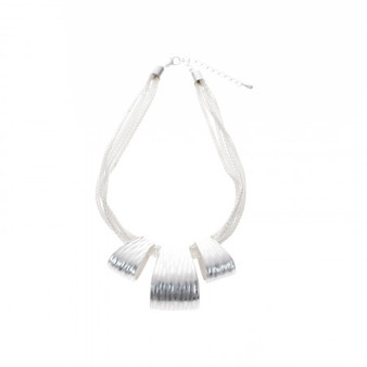 D&X London Matt Silver Multi Strand Necklace (DN0735S)