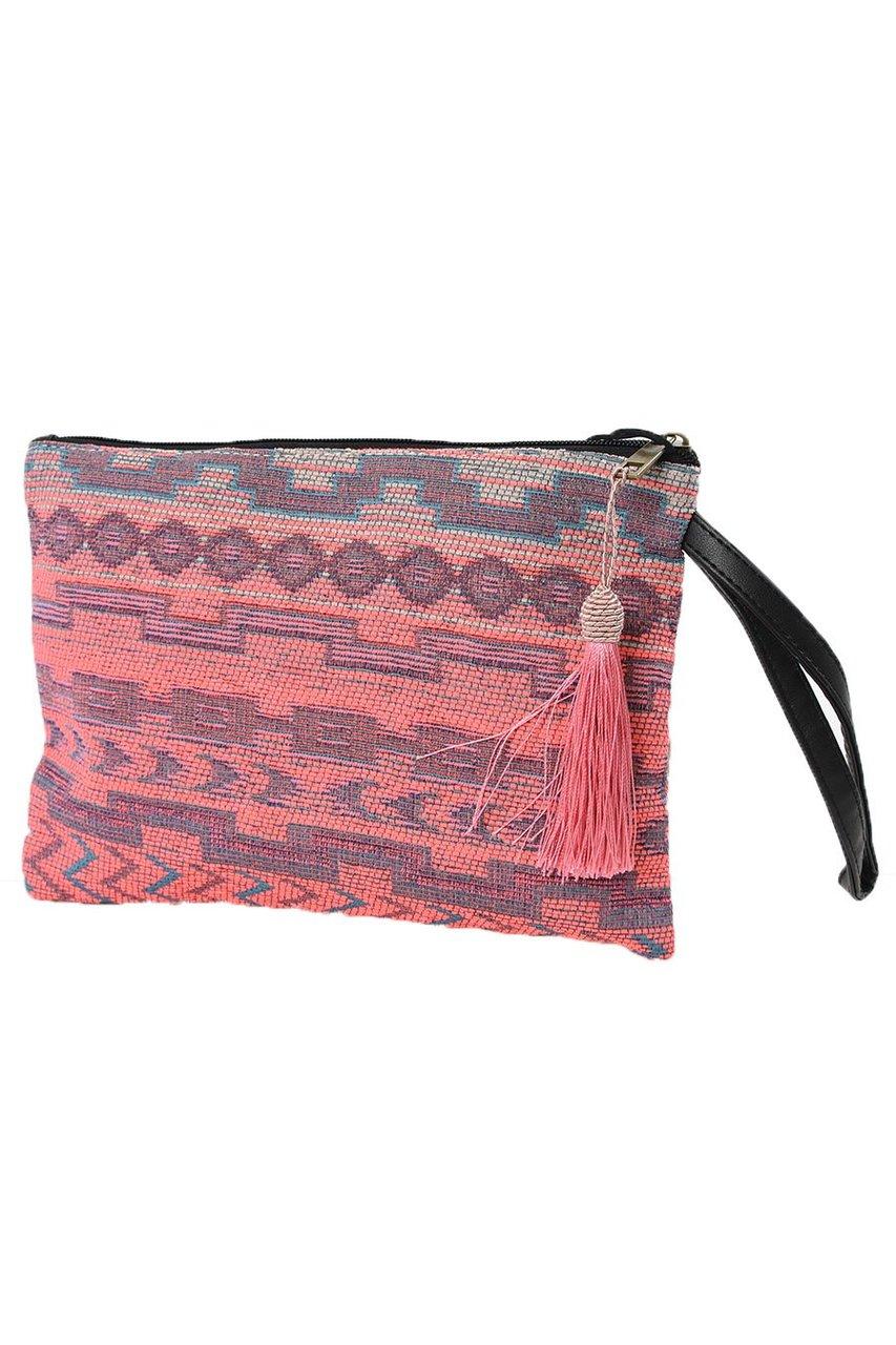 6b24ed506d4 Pink Geometric Print Tasselled Clutch Bag - Readmans