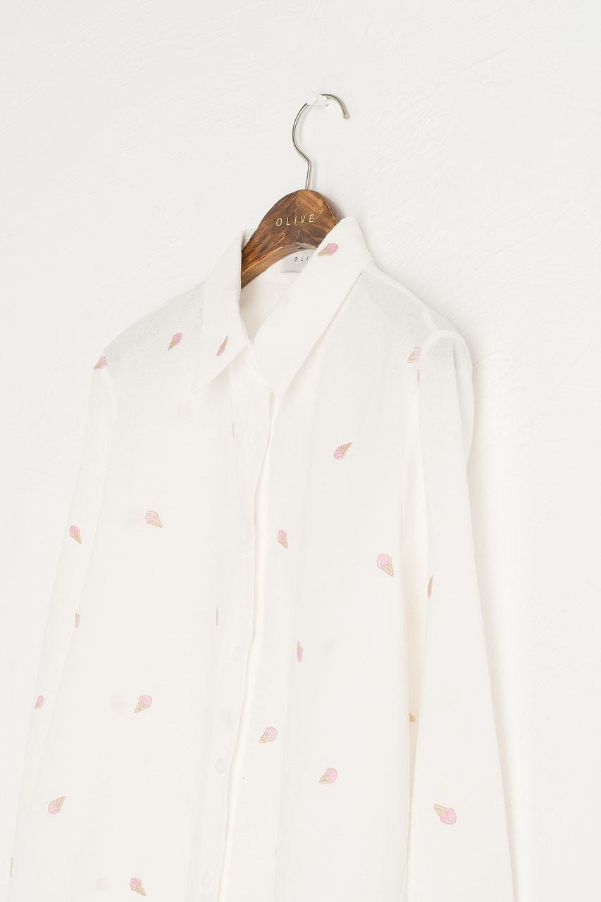 Ice-Cream Stitch Shirt, Ivory