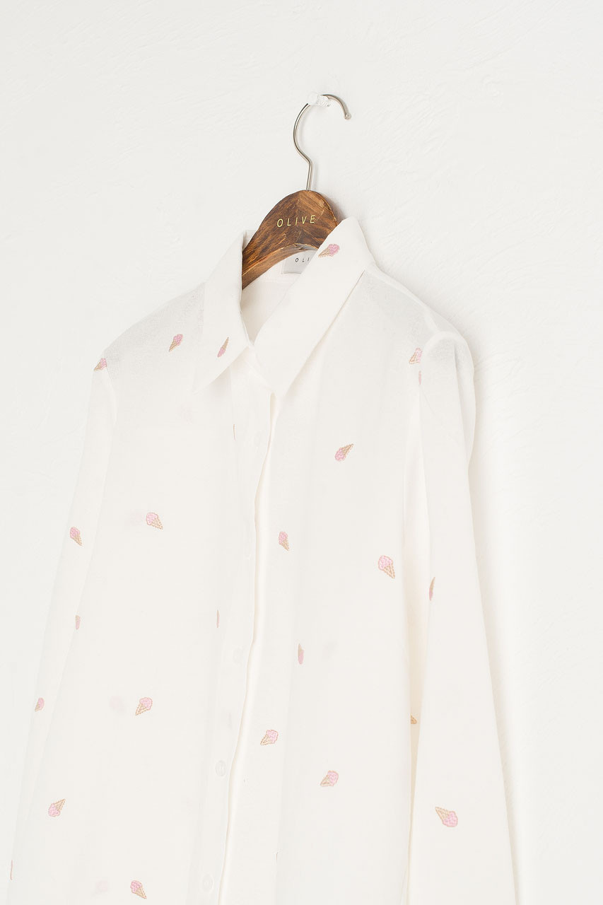 Ice-Cream Stitch Shirt, Ivory